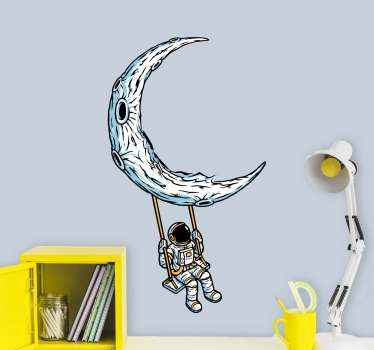An amazing illustration space wall sticker for children space. The design is an  illustration of a person hanging on the moon with travel gadgets.