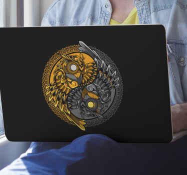 An ornamental oriental symbolic sticker for laptop. Decorate your laptop in a pretty way with our original yin yang owl doodle laptop sticker.