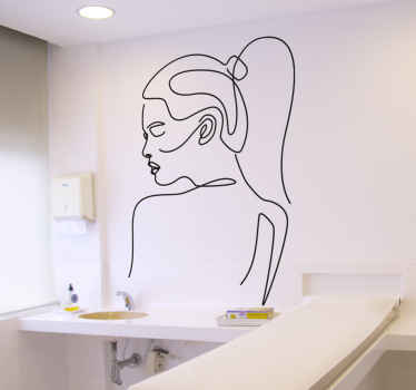 A wall sticker artistic, the drawing of an elegant young woman seen from the back, drawn with a design highlighting all the beauty of feminity