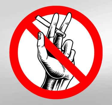 Pegatina prohibido fumar con mano sosteniendo un cigarro para colocar en puertas o cualquier otro lugar público ¡Compra online!