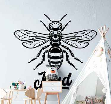 Decorative bee insect sticker with text. You can apply this design on a furniture, wall, door, window and even on laptop space.