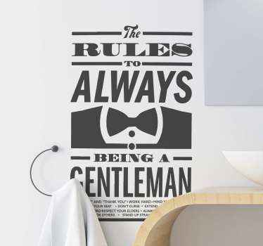 Lovely home wall sticker that can be applied on any flat surface. The design depicts a man's shirt with a bow-tie illustrating of a perfect gentleman.