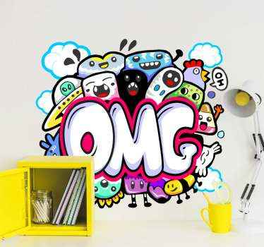 Urban vinyl sticker design with a collection of different expressions of cartoon animals on circle pattern with the text theme 'OMG'.