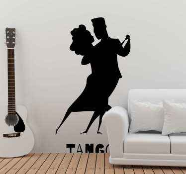 Do you love tango dance? if yes then our dance sticker is for you. A silhouette sticker of people illustrating tango dance art.