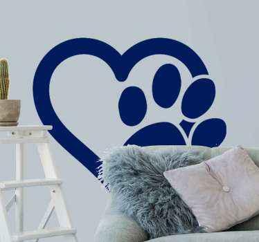 Personaliseer de kamer van uw kind met deze schattige hond poot en hart sticker voor huisdieren. Een huisdiervoetafdruk met hartontwerp dat kan worden aangepast in een andere kleur naar keuze.
