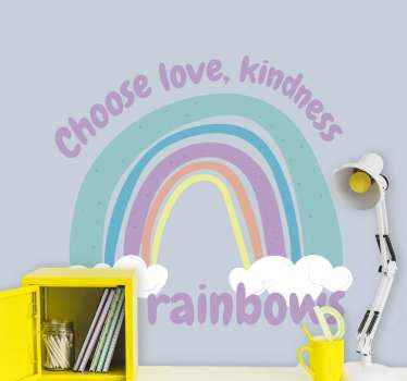 Personalize the room of your child with this amazing rainbow inspirational kid's quote wall stickers. Easy to apply and of high quality.