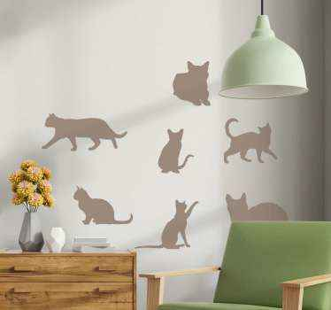 Personalize the room of your child with this amazing 7 different cats silhouettes  sticker. The designs depicts  actions such as running, walking, etc.