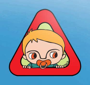 Pegatina bebé a bordo niño rubio