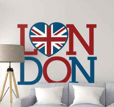 Decorative London text inscription design with the O replaces with a heart shape. The heart design has the background of a union jack flag.