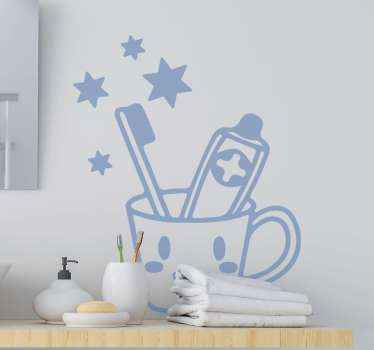 Beautiful bathroom sticker design of a brush and toothpaste holder. A fancy decoration to enhance the wall of the washing hand sink space.