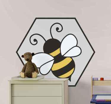 Bijen insect sticker om elke gewenste ruimte te versieren. Het ontwerp van het insectinsect heeft de kleur van geel en zwart in strepen met de vleugels in witte kleur
