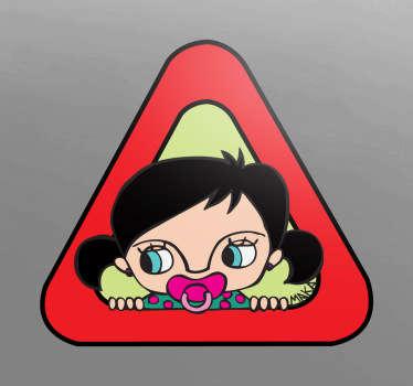 Sticker bébé à bord fille Maka