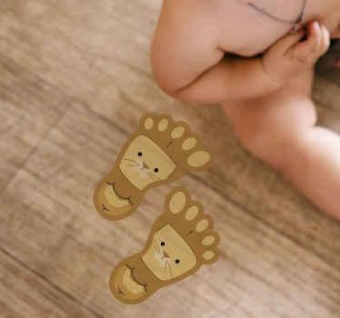 Decoratieve voetafdrukken sticker op de vloer voor kinderen, het heeft een illustratieve kattentekening op het oppervlak. Origineel en gemakkelijk aan te brengen.