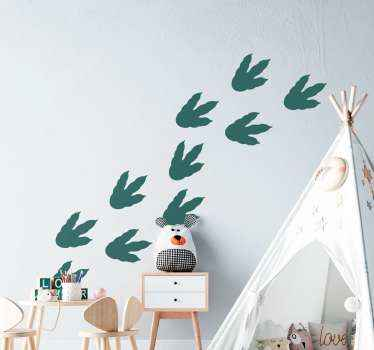 adhesif empreintes de dinosaures pour la décoration de la chambre des enfants. Facile à appliquer et disponible dans toutes les tailles souhaitées.