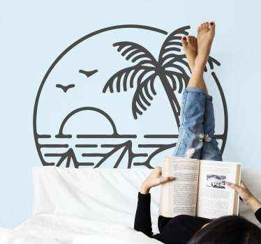 Dekoratív strand logó szörf matrica. Ha szeretsz szörfözni a tengerparton, akkor ez a kialakítás megnyugtatóan díszítené a helyedet.