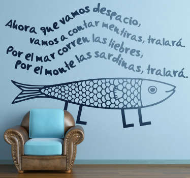 Adhesivo de corte con una popular canción de la infancia, donde la sardinas corren por los montes y las liebre por el mar.