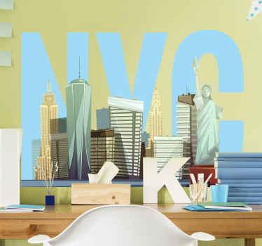 アメリカ合衆国の象徴的な表現であらゆるスペースを飾るための装飾的なニューヨーク市のスカイラインステッカー。オリジナルで簡単に適用できます。