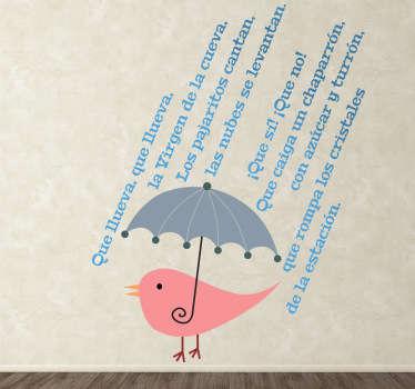 Vinilo infantil que llueva
