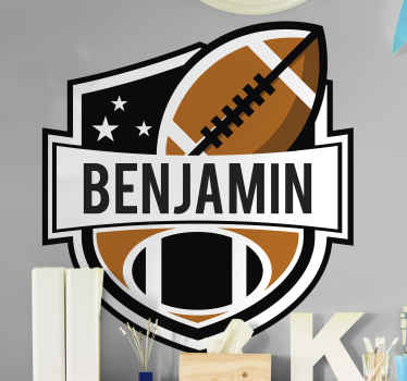 American football badge sticker with ball. A design suitable for kids and teenagers who love this sport, also suitable for adult.
