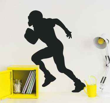 Decorative silhouette decal of American football player. This design is suitable for kids and teenagers who love this sport. Available in colours.