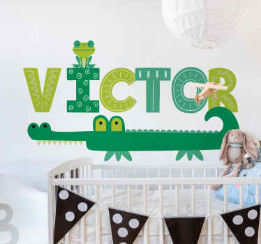 Adesivo da parete per cameretta per bambini con coccodrillo, dalla nostra collezione di adesivi con animali selvatici. Non lascia residui alla rimozione.