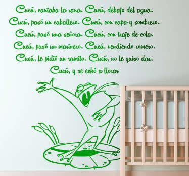 Adhesivo de corte de la clásica canción de niños que habla de una rana que canta debajo del agua.