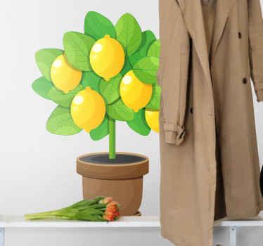 Mooie illustratieve citroenboom sticker. Op het embleem staan mooie citroenen met veel verschillende kleuren. Het is gemakkelijk aan te brengen en gaat lang mee.
