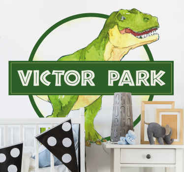 Use the name of your child to create your perfect custom sticker. Exciting and colorful customised dinosaur sign for boys! Easy to apply.