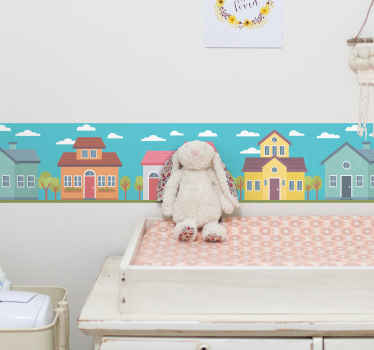 Pastel houses wall border sticker for children room. The design contains various colorful houses with cloud symbols. An amazing kids room sticker.