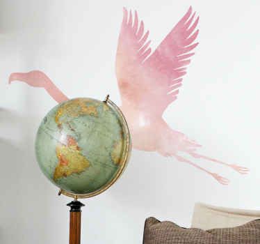 Decorative colorful flamingo bird sticker for living room. This design can be applied on other surface of choice. Nice for kids and teenager's room.