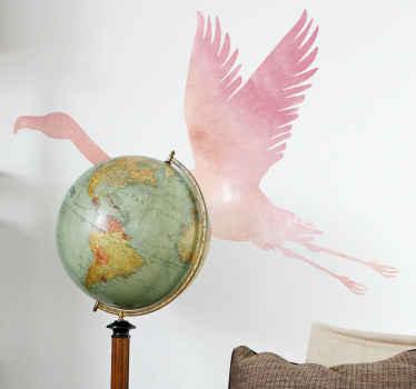 Decoratieve kleurrijke flamingo vogel sticker voor woonkamer. Dit ontwerp kan op een ander oppervlak naar keuze worden aangebracht. Leuk voor de kinder- en tienerkamer.