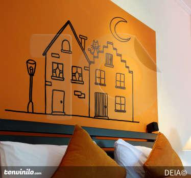 Sticker mural maison du chat
