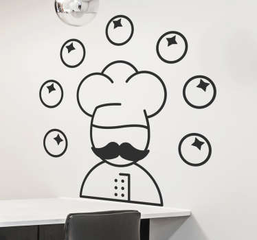 Chef Decals - illustration of a chef juggling tomatoes. Perfect for master chefs of the kitchen! The kitchen wall sticker comes in a variety of colours.