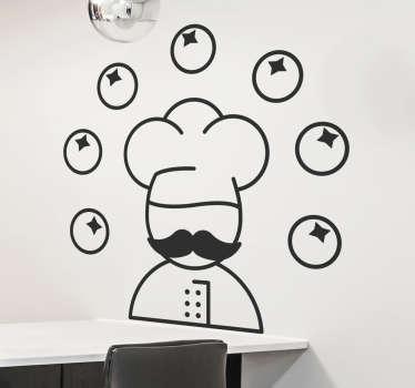 Juggling Chef Wall Sticker