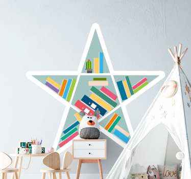 Beautiful star shelve educational sticker. A lovely book storage design that can help kids understand the importance of having a collection of books.