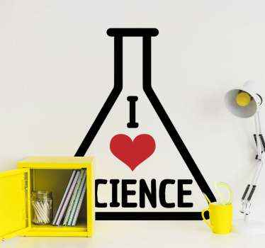 Decorative science test-tube illustration sticker. A test tube inscribed with text and love heart which simply translates 'I love science text tube''.