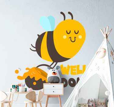 Illustrative insect wall sticker for children. The design illustrates a very busy bees making honey and transporting it with a pot