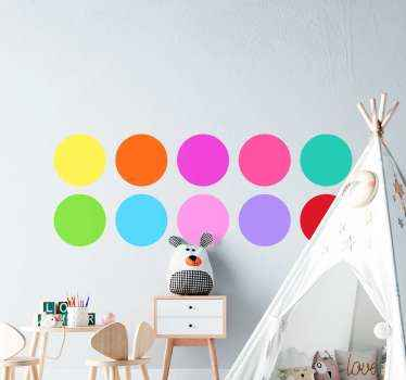 Illustrative colorful circles decal for kids. The design contain different colours of dots and each can be applied in the style you want