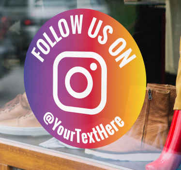 Personalized company Instagram icon sticker.  Provide the name of your company for the design and it would be printed at your order.