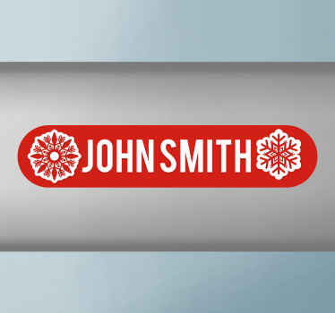 Lovely bike frame decal made of high quality vinyl. The design is a custom name with ornamental snowflakes design on a red background.