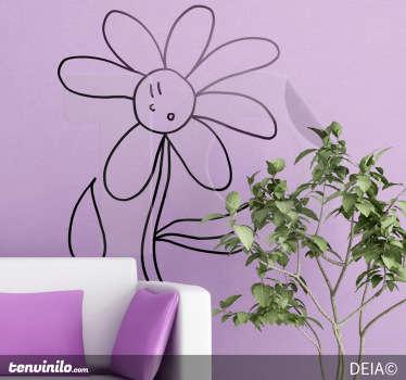 Wandtattoo erstaunte Blume