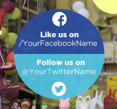 Social media follow tag decal for business space. The design is customizable with your Facebook and twitter  tag handle. Easy to apply and adhesive.