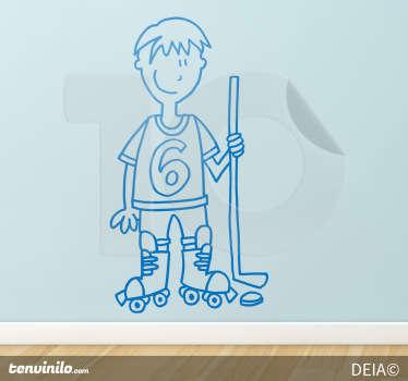 Adesivo murale che raffigura un giocatore di hockey su pista. Una simpatica idea per decorare la cameretta dei bambini.