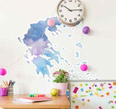 αυτοκόλλητο χάρτη της όμορφης Ελλάδας σε δημιουργικό στυλ υδατογραφίας! . ένα σχέδιο διακοσμητικό για το σαλόνι, το υπνοδωμάτιο και άλλο χώρο σας.