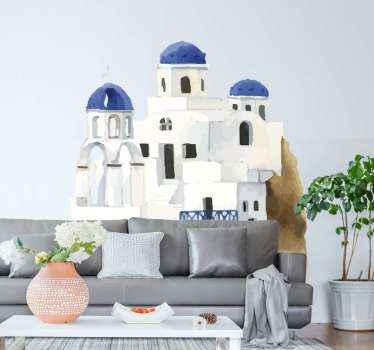 αυτοκόλλητο τοίχου διακοσμητικό εξωτερικό σπίτι. το σχέδιο απεικονίζει την παραδοσιακή οικοδομική δομή των Ελλήνων. κατάλληλο σαλόνι τοίχου.
