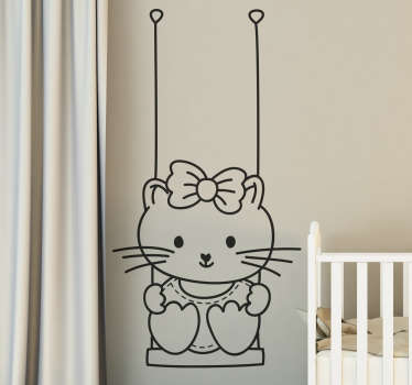 A decorative sticker of a girl in a swing. A very simple but original decal for your wall at home.