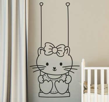 Girl in Swing Decorative Sticker