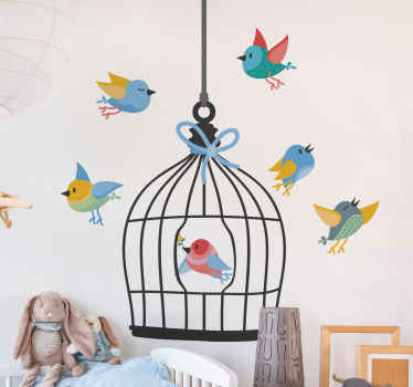 Decorative bird cage sticker with birds. Lovely design to beautify the bedroom of children and it is customizable to meet any need.