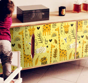 This design is a perfect decoration on the furniture space of a child. The kids decorative furniture decal contains different illustrations