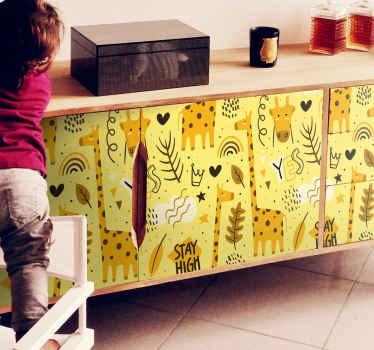 Dieser entwurf ist eine perfekte dekoration auf dem möbelraum eines kindes. Der dekorative Möbelaufkleber für kinder enthält verschiedene abbildungen